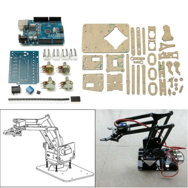 25 cm 4DOF Acrílico Robô Braço Manipulador Garra Para Garra Mecânica Robô Inteligente Frete Grátis