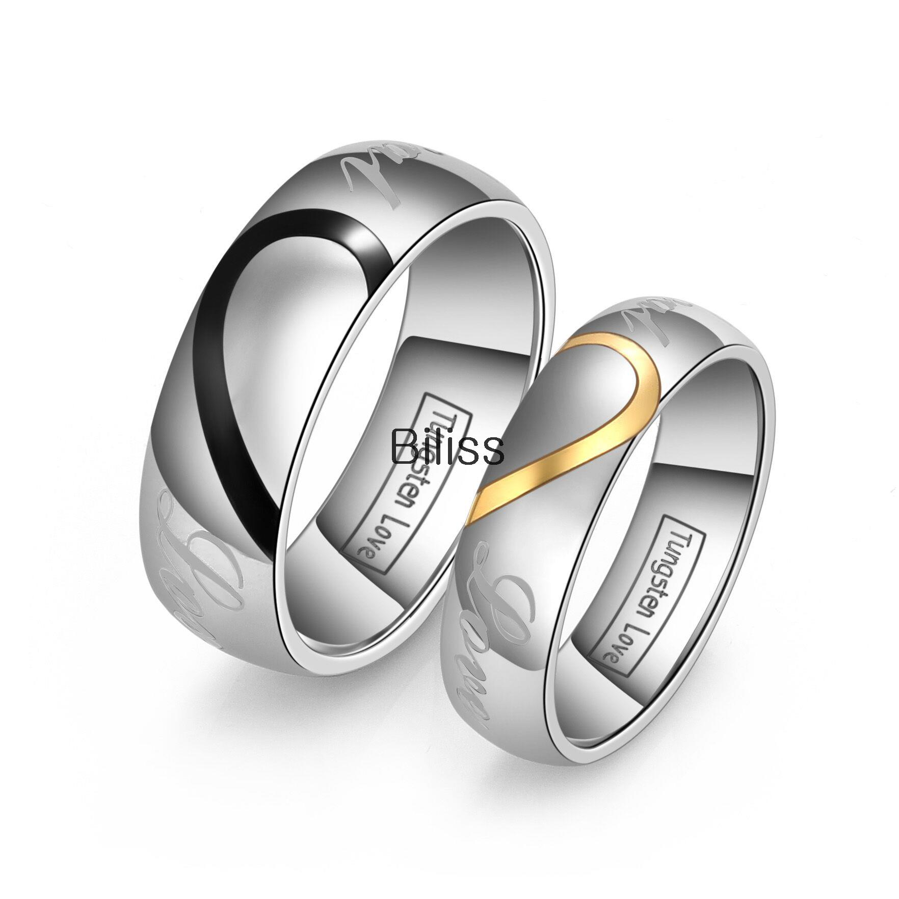 Lover39s matching heart tungsten carbide men women promise for Wedding rings for male and female