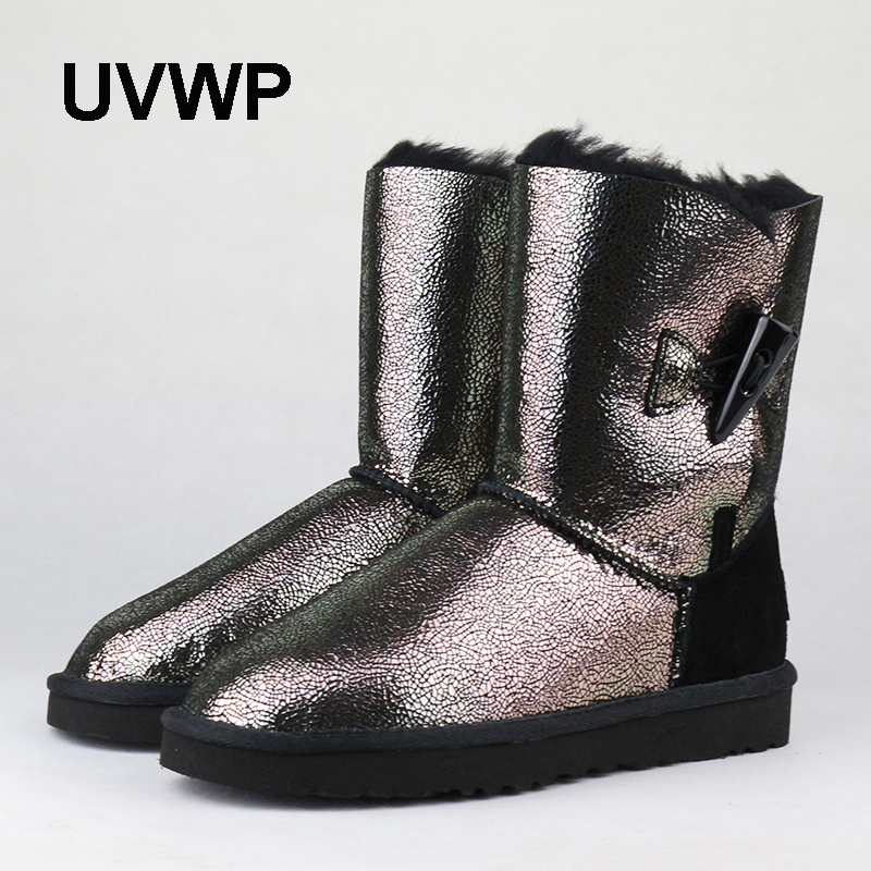 UVWP 2017 Genuine Sheepskin Leather Snow Boots for Women 100% Natural Fur Winter Boots Warm Wool Women Mid Boots Top Quality  цена