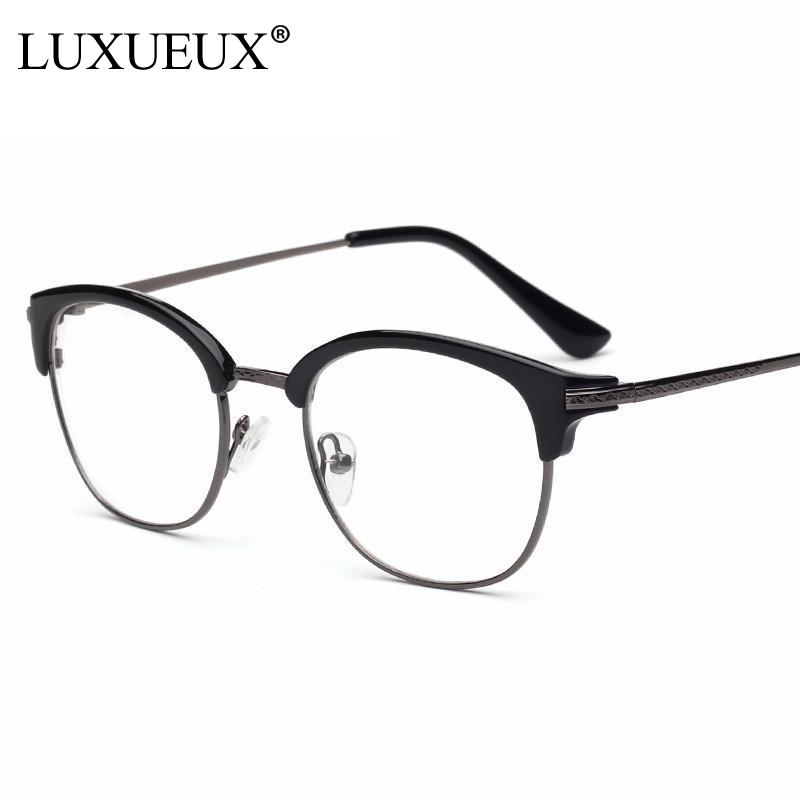 Horn Rim Nerdy Vintage Retro Acetate Full Rim Metal Optical Eyeglasses Frames Men Women Plain Glasses Half Frame Spectacle