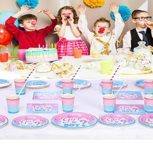 Image 4 - Детские вечерние занавески с металлическими бахромой для душа, одноразовая посуда для мальчиков и девочек, салфетки для стаканчиков