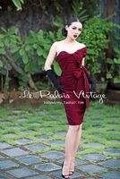 MIỄN PHÍ VẬN CHUYỂN Palais Cổ Điển Le retro sexy rượu vang đỏ lần bất thường cúi đầu một vai tight vỏ bọc cộng với kích thước dress