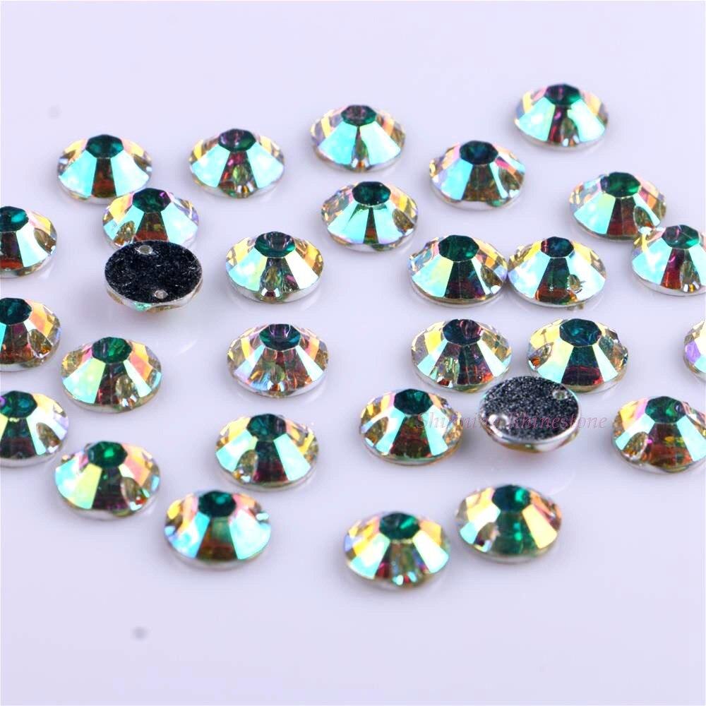 10mm 50st / pack Crystal AB Sy på rhinestones Round Resin DIY - Konst, hantverk och sömnad - Foto 3