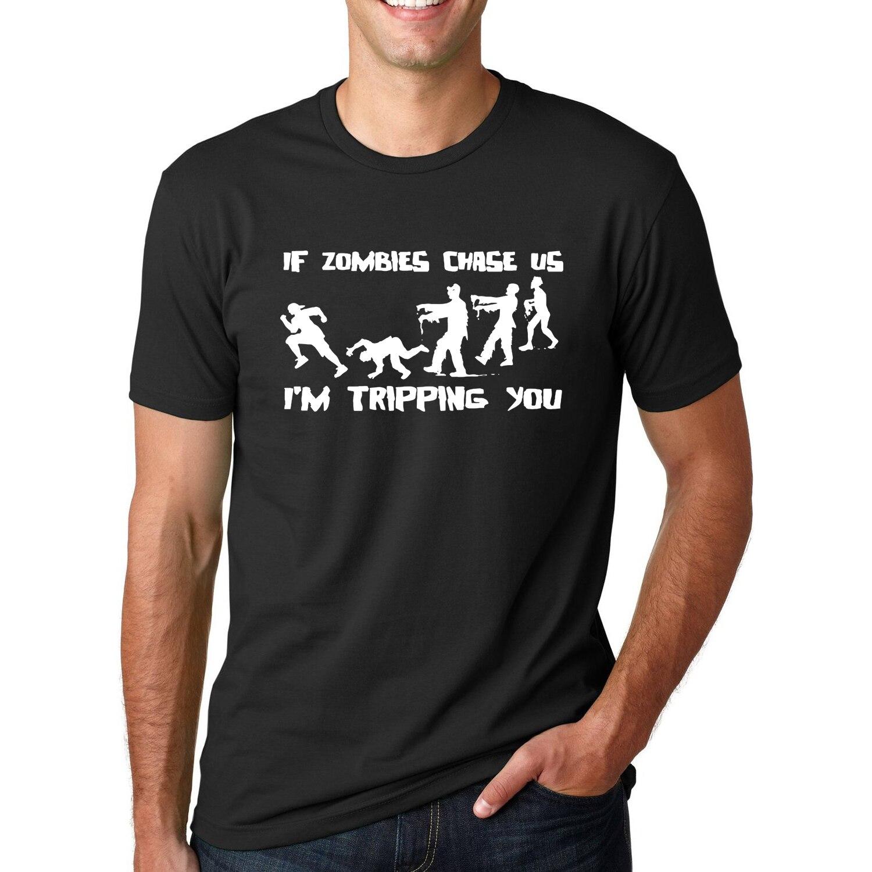 Jika Zombies Chase Kami aku Tersandung Anda 2018 Musim Panas Lucu T Shirt pria Streetwear Lengan Pendek O Neck T Shirt Mode Hip Hop Tops