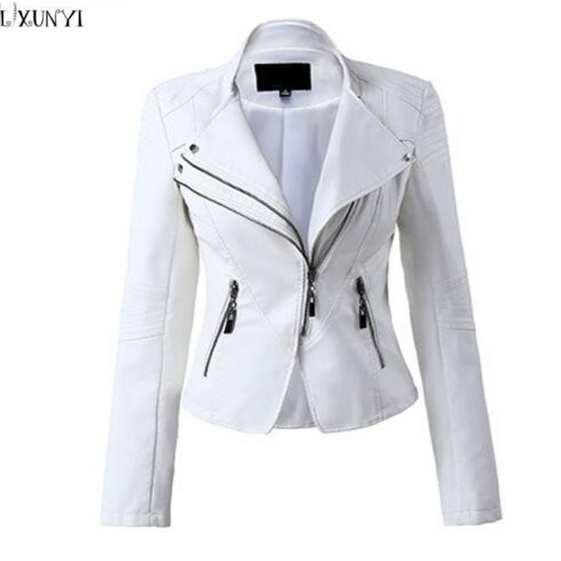 LXUNYI White Black PU leather Motorcycle jacket Women 2018 Autumn Short Slim Zipper Coat Plus Size Ladies leather jackets Faux ladies consultation coat white size 14 1 each model 88018qhw14