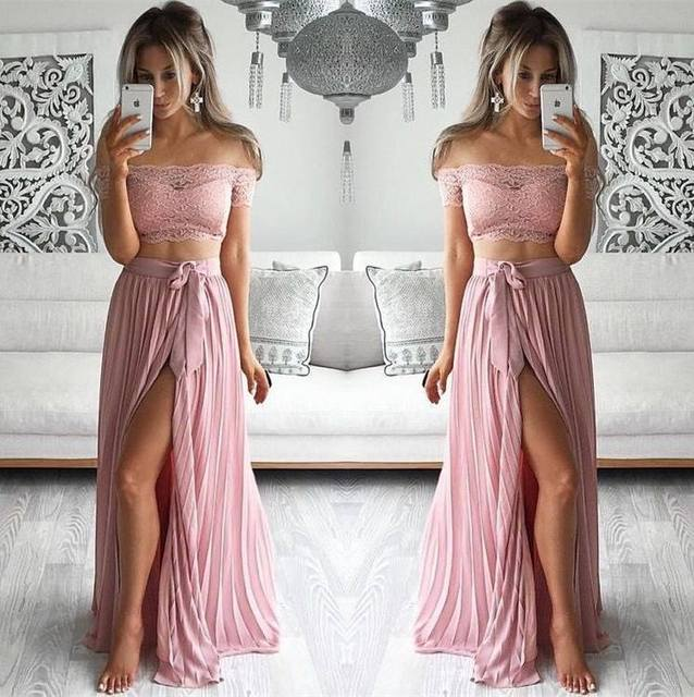 2 Two Pieces Beach Chiffon Long Prom Dresses 2016 Robe Bal De Promo Side  Slit Party Lace Formal Occasion Gowns 8a206884dc73