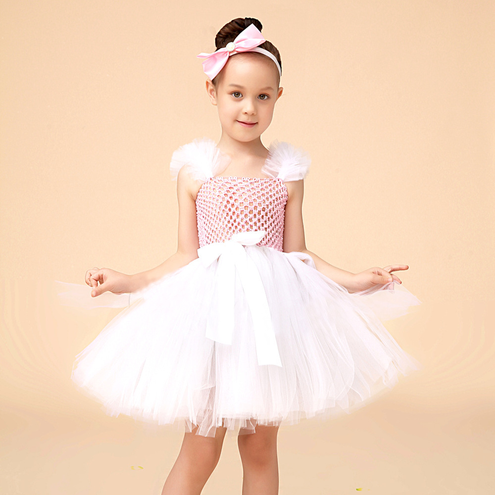 Kids Children Ball Gown Flower Girls Baby Princess Mesh Tutu Ruffles Bow Dress Wedding Party Pageant Dresses Vestidos S5453 summer 2017 new girl dress baby princess dresses flower girls dresses for party and wedding kids children clothing 4 6 8 10 year