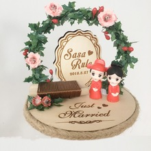 1pcs marriage day Photo props Anniversary Engagement wood rustic party decoration personalized wedding ring box