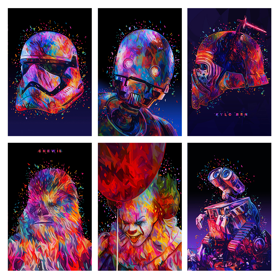 Soldier Star Wars Painting Canvas Wall Art Picture R-2SO Rylo Ren IT-Pennywise Curioos Posters For Living Room Kids Room Decor image