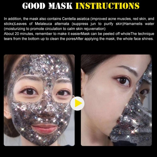 STAR MASK Glitter Gold Peel off Black Face Mask From Black Dots Blackhead Remover Korean Facial Masks Face Skin Care 4
