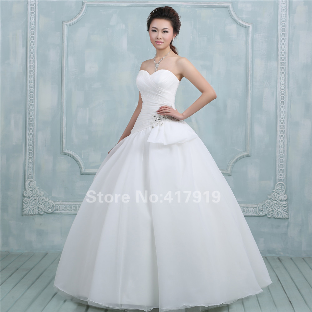 Real Sample High Quality Sweetheart Neck Pleat Ball Gown