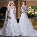 BF1030 Vestido De Noiva Lace Long Sleeves V Neck Wedding Bridal Dresses Long Cheap 2016 with Veil Sheer Back A Line Bridal Gown