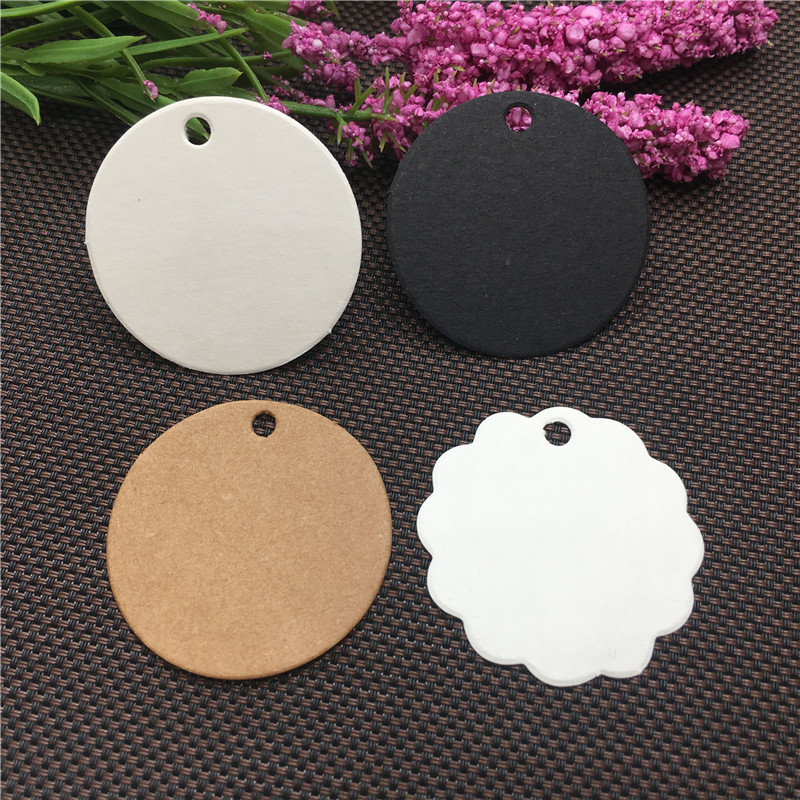 100Pcs/Lot 3.5x3.5cm Round Tree Flower Shape Hang Paper Cardboard Tags Impress Handmade With Love Bow-knot Stars Gift Price Tags