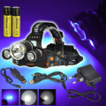 New XML T6+2*R5 LED UV 6000LM Headlight Headlamp Lantern Purple LED Flashlight + 2 x 18650 4000mah Rechargeable Battery+ Charger