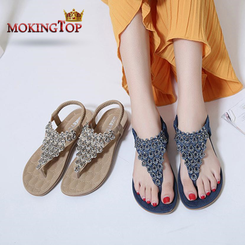 4ea423b726e5af MOKINGTOP Bohemia Beaded floral woman Sandals Ladies Flats Beaded elegant  Flip-flops summer 2018 womans Sandal ...