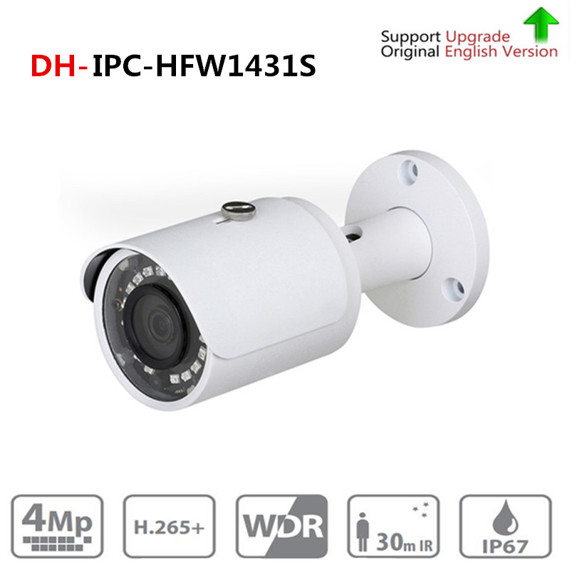 DH IPC-HFW1431S 4MP Mini Bullet IP Camera Night Vision 30M IR CCTV Camera POE IP67 Update From DH-IPC-HFW1320S with dahua logo цена 2017
