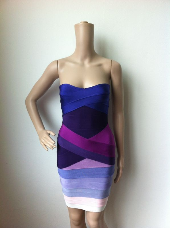 Ким Кардашьян, без бретелек, с открытыми плечами,, сексуальное женское платье, вискоза, бодикон, опт, дешевые мини обнаженные платья - Цвет: Purple Gradient