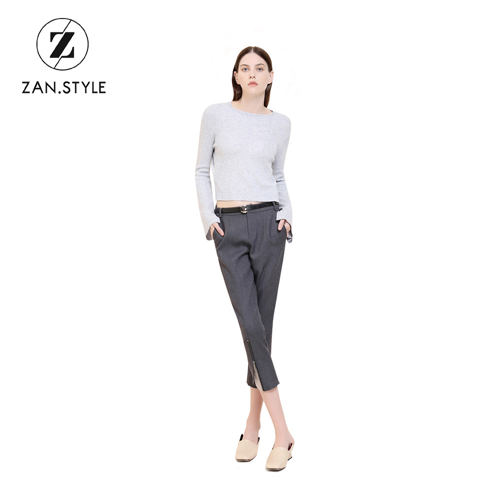 9af2d167df63 STYLE England Style Women Side Pocket Cropped Pants Office Ladies Hem  Zipper Mid Waist Calf Length Straight Trousers S-3XL