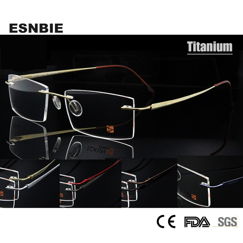 ESNBIE New Mens Rimless Eye ակնոցներ Titanium Ultralight Memory Square Optical Frame Տղամարդկանց 7 գույն առկա է
