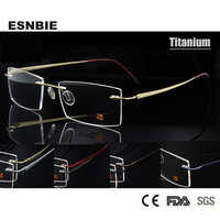 ESNBIE New Mens Rimless Eyeglasses Frame Titanium Ultralight Memory Square Optical Frame Men 7 Colors available