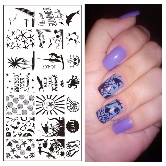 Yzwle 1 Pc New Nails Template Nail Stamping Plates Marine Theme