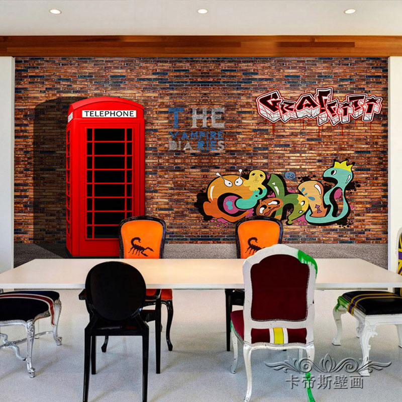 Custom 3d mural 3D imitation brick wall graffiti mural living room sofa TV background wall coffee house bedroom wallpaper mural free shipping 3d cartoon graffiti mural living room sofa background wall coffee house tv restaurant bar wallpaper mural