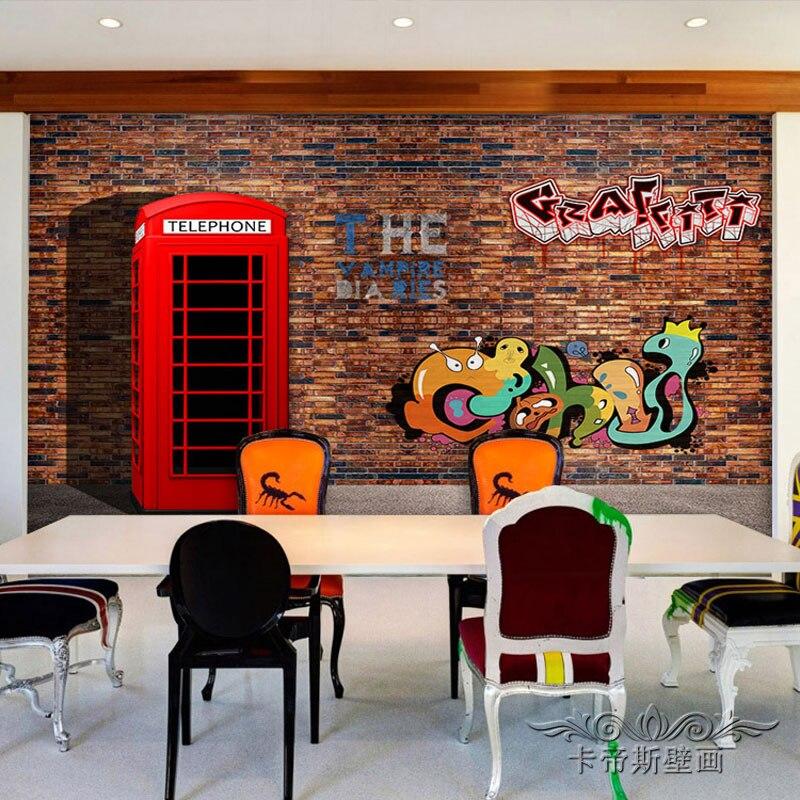 Free Shipping 3D imitation brick wall graffiti mural living room sofa TV background wall coffee house bedroom wallpaper mural  free shipping 3d personality wallpaper sofa tv coffee house bar backdrop living room bedroom bathrom wallpaper mural