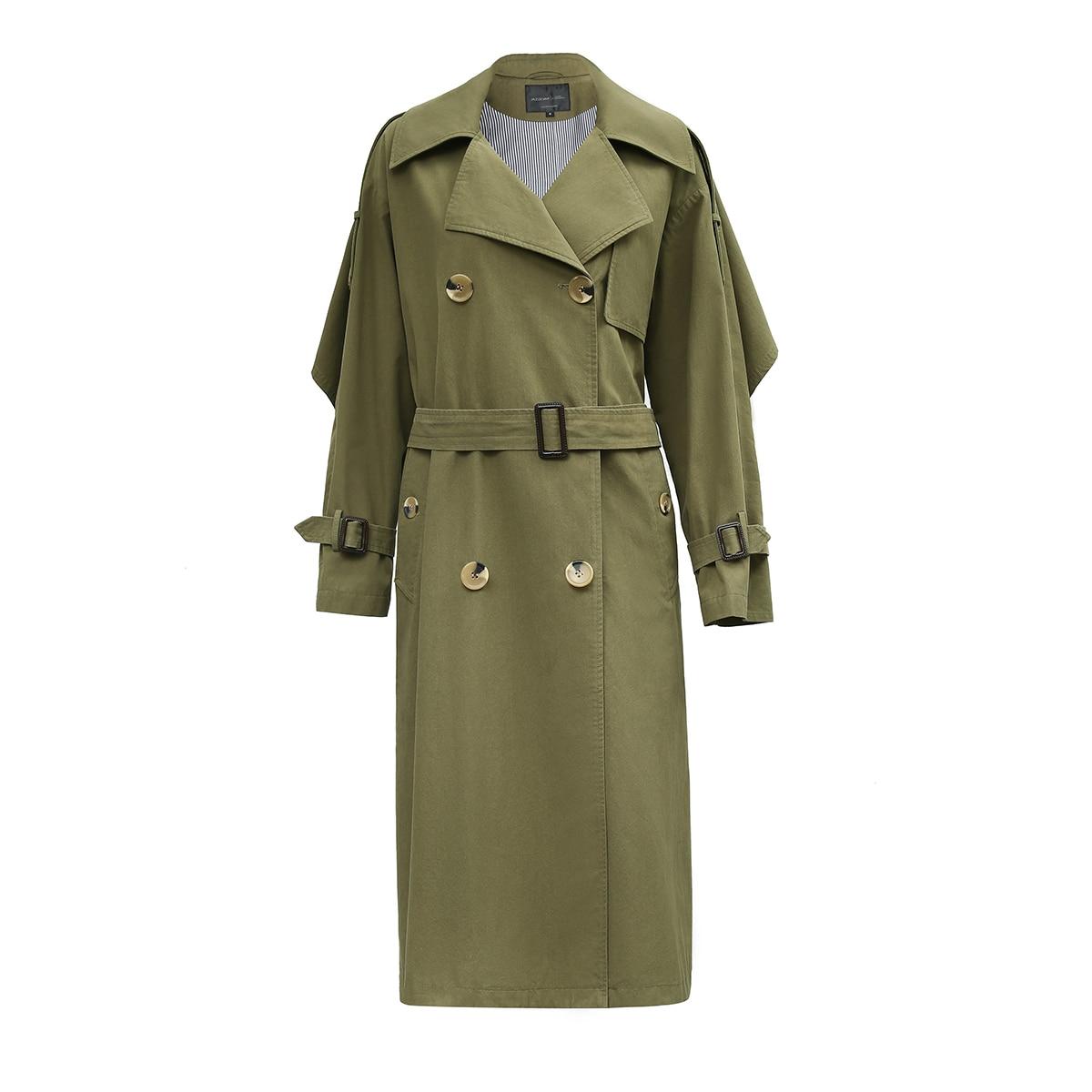 Green 2018 Volants Manteaux Mode Army Haute Casual Nouveau Lâche kaki Jazzevar Trench Automne X Femmes Coton Lavé Vêtements Qualité long JlTK1Fc3