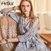 ARTKA/новое летнее длинное шифоновое платье с цветочным принтом и v образным вырезом на запястье с цветочным принтом и поясом LA10382X