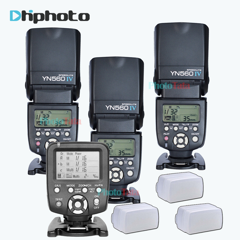 3x Wireless Speedlite Flash Yongnuo YN560 IV +YN560TX Flash Controller For Canon Nikon with free 3 Flash  Diffuser Box selens seven color speedlite filter honeycomb grid with magnetic rubber band for yongnuo canon nikon flash accessories kit