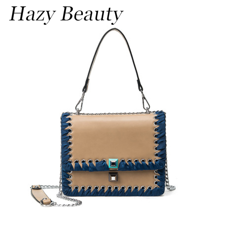 Hazy beauty Pacthwork puzzling women fashion bag pu leather fringe dropping lady