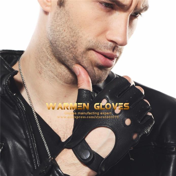 Elma Men's Deerskin Fingerless Half Finger Driving Fitness <font><b>Motorcycle</b></font> Cycling <font><b>Unlined</b></font> <font><b>Leather</b></font> <font><b>Gloves</b></font>