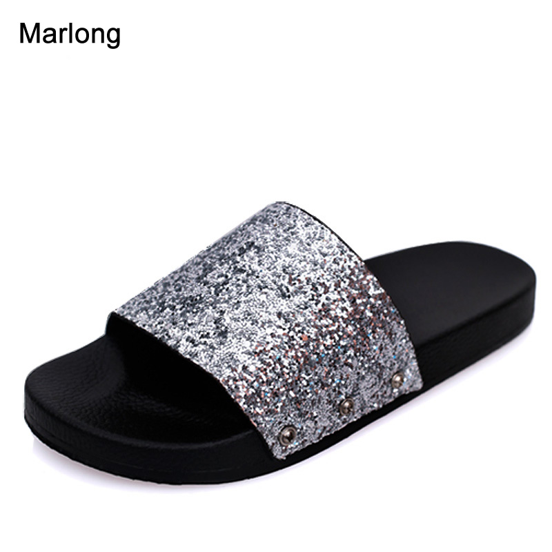 Bling Summer Women Slides Slippers Sandals Flip Flops Sexy Open Toe Slides Female Fashion Glitter Sandals Platform Zapatillas lanshulan bling glitters slippers 2017 summer flip flops platform shoes woman creepers slip on flats casual wedges gold