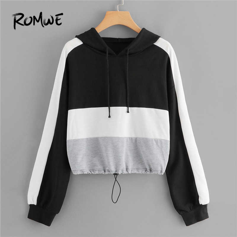 db4b62e5 ROMWE Color Block Drawstring Hoodies Women Casual Womens Clothes Autumn  Hooded Sporty Clothing Female Sweatshirts Pullover