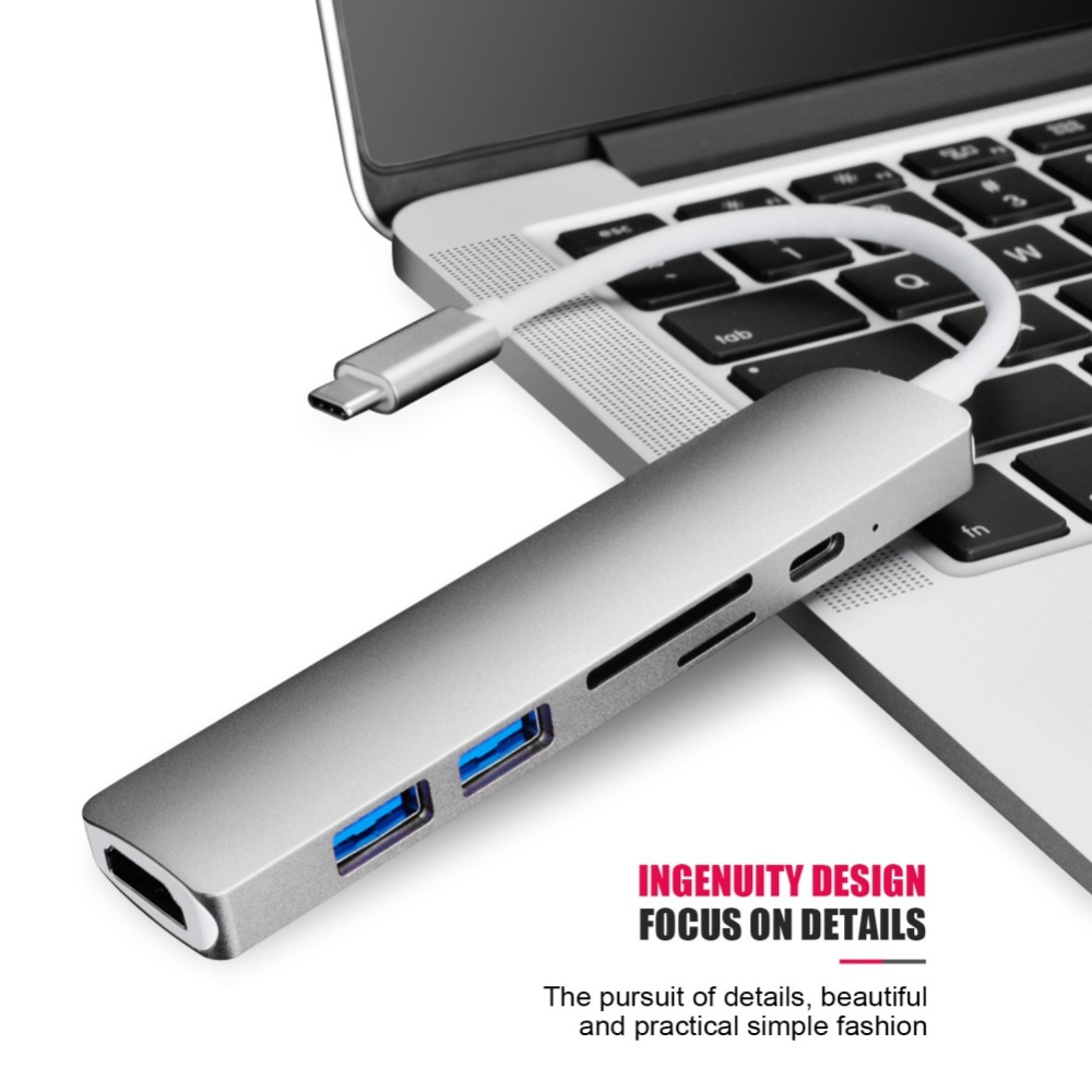 Type C Converter USB Hub for MacBook Pro Thunderbolt 3 USB 3.1 Hub with SD/Micro SD Card Reader + USB-C Charger PD Converters