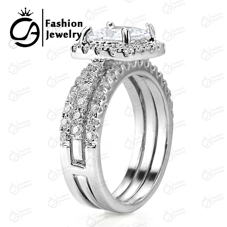 Great Quality 14k White Gold Halo 2pc Insert Bridal Set Cubic