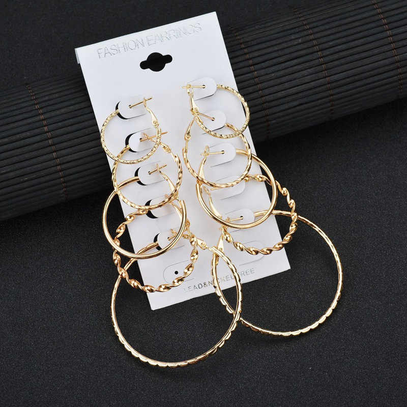Modyle 2019 New 5 Pairs/set Vintage Dangle Big Circle Earrings Women Steampunk Ear Clip
