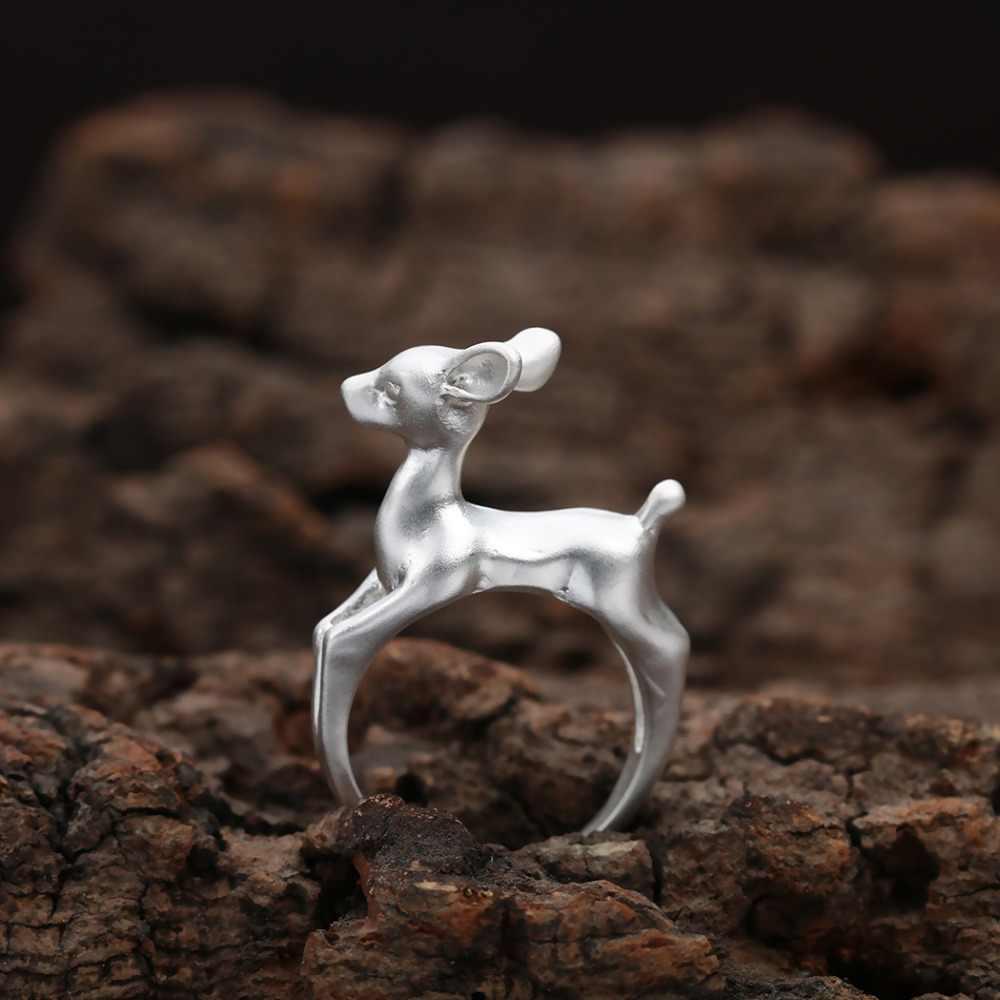 QIAMNI Đáng Yêu Handmade 3D Bambee Động Vật Hươu Vòng Trang Sức cho Phụ Nữ Cô Gái Cưới Sinh Nhật Pet Quà Tặng Người Yêu Boho Chic Bague anel