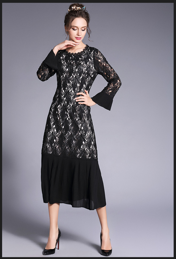 2018 Spring Fashion Ladies plus size elegant lace long dress chiffon ...