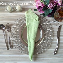 10pcs/lot free-shipment Hotsale Gold/Silver Crystal Metal Charger Plates with 3 Layers Beaded for Wedding Table Home decoration
