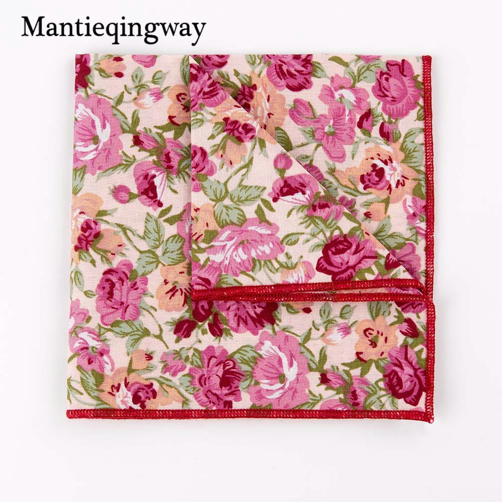 Casual Cotton Floral Printed Handkerchiefs Pocket Towel Mens Business Wedding Texudo Pocket Square Ladies Hankies