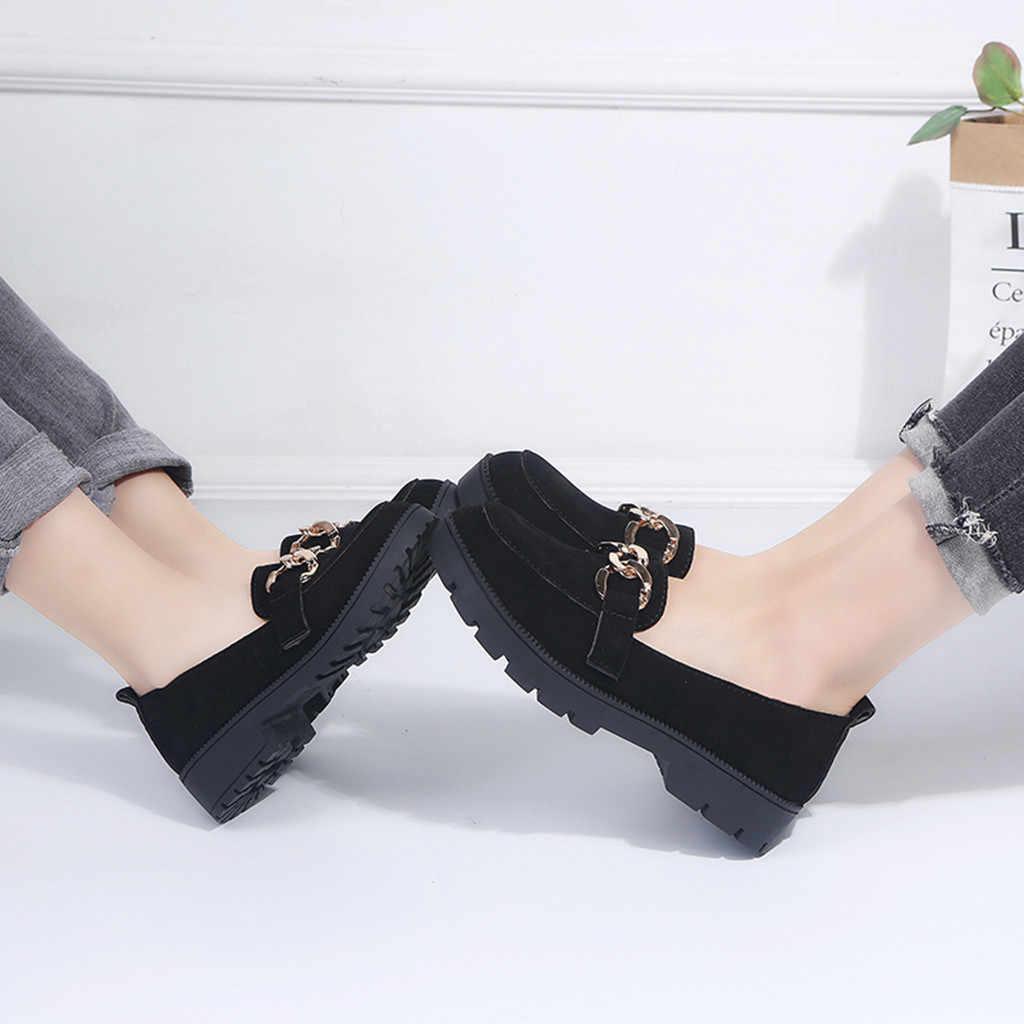 Mujer de cuero genuino de vaca diapositivas casuales de moda de punta redonda Slip en plataformas zapatos de tacón cuadrado zapatos de trabajo zapatos # g2