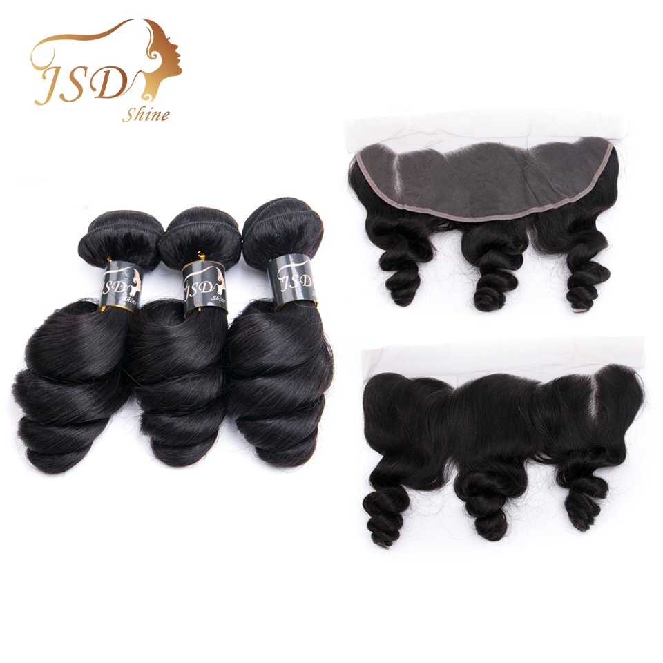 JSDShine Brazilian Loose Wave Hair Weave Bundles With Frontal 100 Human Hair Bundles With Lace Frontal