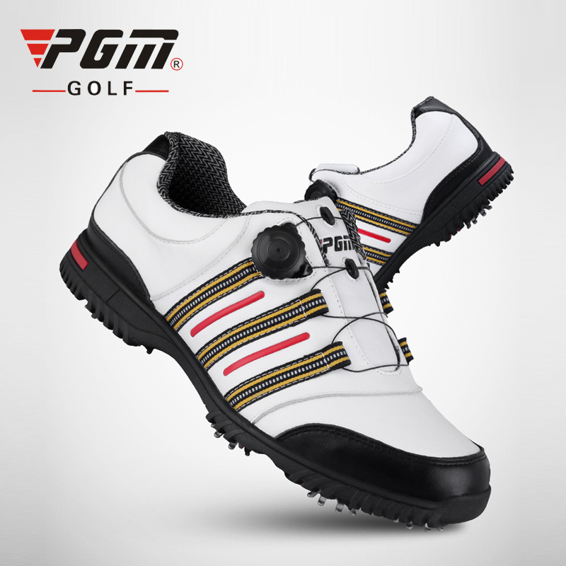 PGM Men's Golf Shoes Knobs Buckle Golf Sneakers Geniune Leather Golf Shoes Men Anti-Skid Pgm Sapatos Verni A Ongle Free Shipping hot pgm golf clothes pack men s double shoes bag extra large capacity bag pack portable clothes shoes handbag free shipping