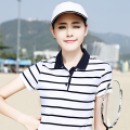 2017 New Womens Polo Shirts Cotton High Quality Cotton Female Striped Short Sleeved  Women Polo Shirt Brand