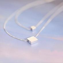 925 пробы Серебряная двойная квадратная коробка корейская мода ювелирные изделия популярный темперамент ключицы цепи кулон ожерелье H22