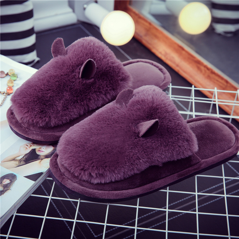 QWEEK Women Home Animal Slippers Fur Indoor Rabbit Slippers Warm Ladies Cute Funny Adult Slippers Female Slide House Shoes plush winter slippers indoor animal emoji furry house home with fur flip flops women fluffy rihanna slides fenty shoes