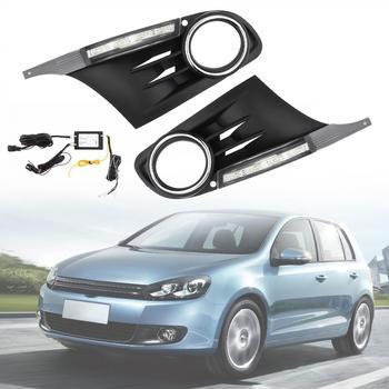 12V White Light Universal Waterproof 6000K LED Car Auto Daytime Running Traffic Lights Fog Lamp for Golf 6