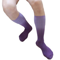 KWAN Z Mens Socks Cotton Mid Stocking Gradient Violet Meia Socks Men Thick Calcetines Compression Socks