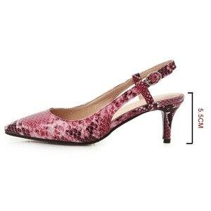 Image 3 - 2019 봄 여성 신발 펌프 뱀 인쇄 하이힐 신발 우아한 중반 굽된 섹시한 지적 발가락 Slingbacks 웨딩 파티 신발
